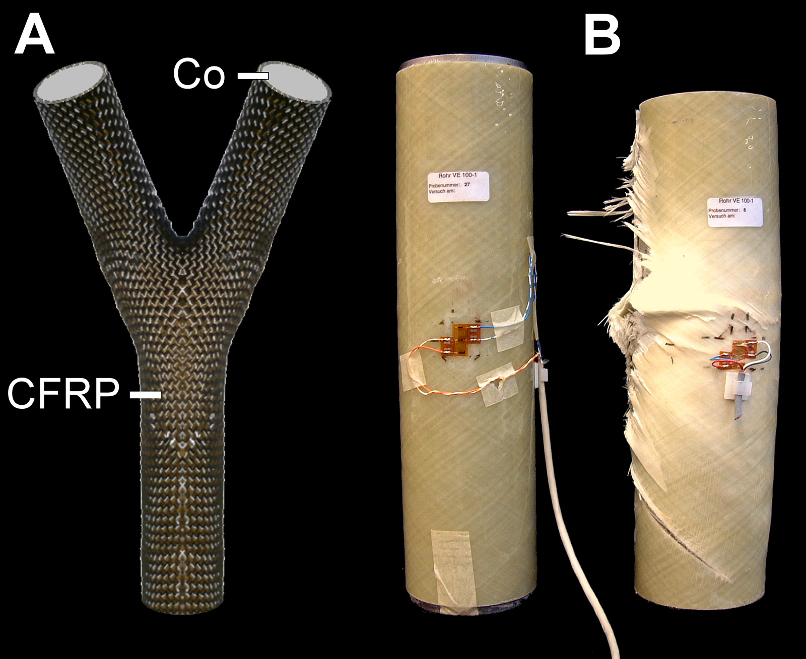 Left: novel biomimetic carbon fibre-reinforced polymer (CFRP) developed by the ITV that can be filled with concrete. Right: specimen for preliminary test on FRP confined concrete before loading.