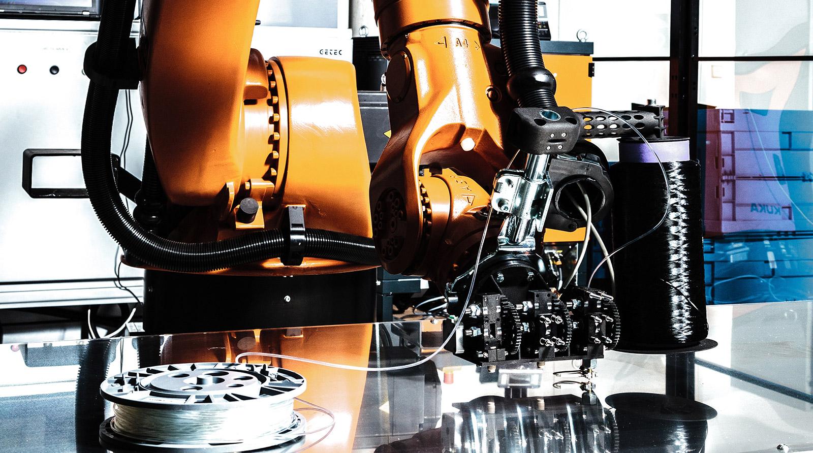 3-D- print head integrating carbon fibre