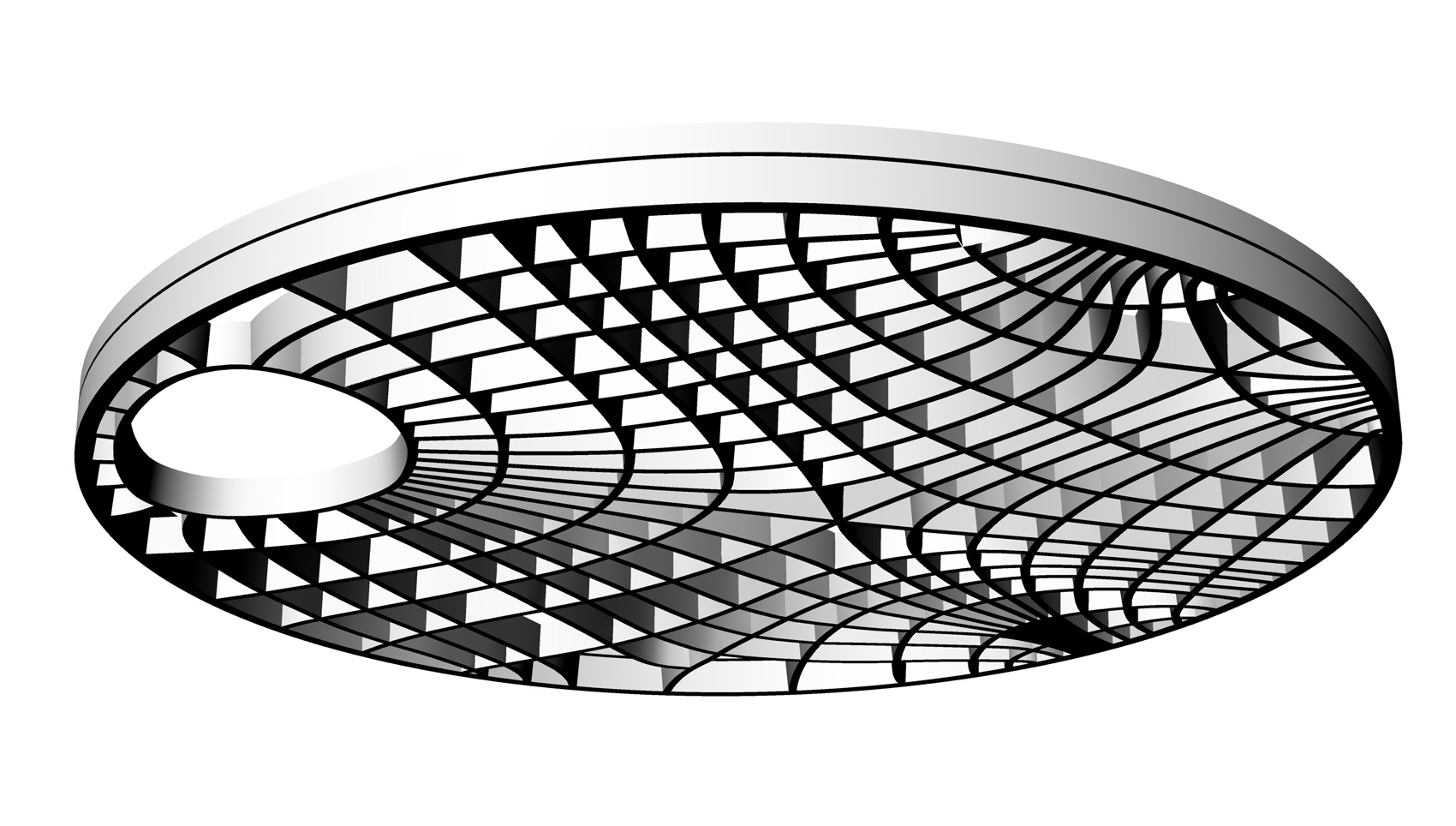 Simulation of the isostatic ribs of the bone-inspired ribbed ceiling of the former zoology lecture hall at the University of Freiburg (Germany). Source: ITKE, Universty of Stuttgart